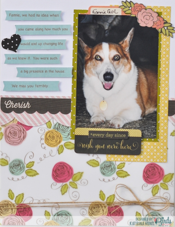 Cherish Scrapbook Page by Katrina Hunt for 3 Birds Design Midday Medley