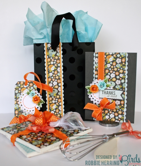 Gift Set with Coordinating Magnets and Trivets by Robbie Herring for 3 Birds Design Pearlescent Foil Goodie Box Graceful Season