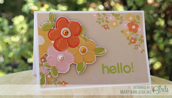 Hello Card by Mary Ann Jenkins for 3 Birds Design