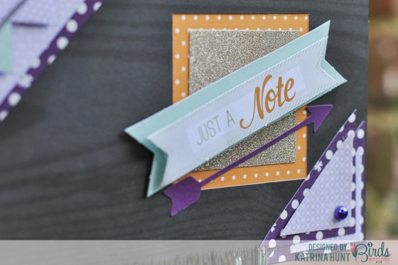 Just A Note Card by Katrina Hunt featuring 3 Birds Design August Scrapbook Sketch