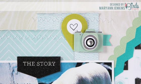 Polar Bear Scrapbook Page by Mary Ann Jenkins for 3 Birds Design using the August Scrapbook Sketch