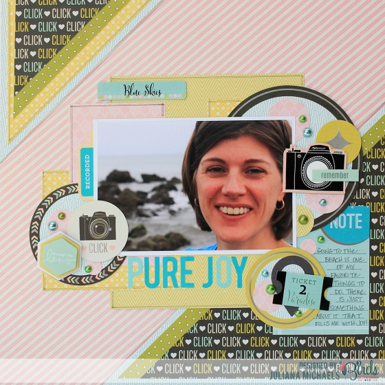 Pure Joy Scrapbook Page by Juliana Michaels 3 Birds Design using the Midday Medley Collection
