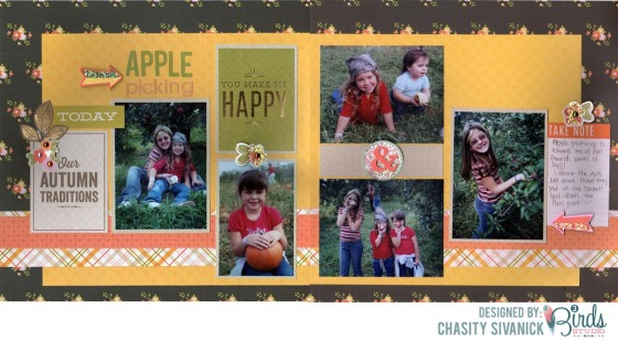 Apple Picking by Chasity Sivanick for #3birdsdesign #septembersketch #scrapbooklayout
