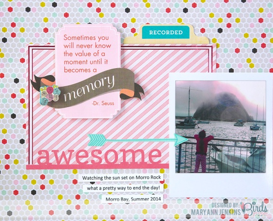 Awesome Summer Scrapbook Page by Mary Ann Jenkins for 3 Birds Design Midday Medley Collection