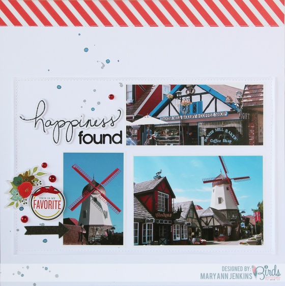 Happiness Found Scrapbook Page by Mary Ann Jenkins for 3 Birds Design using the September Sketch