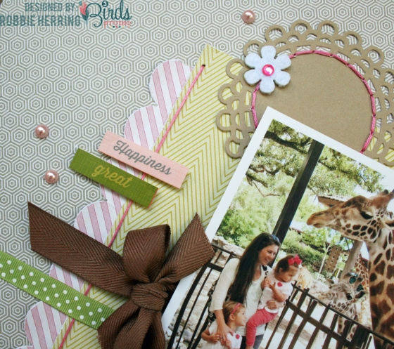 Hello Zoo Fun Day Scrapbook Page by Robbie Herring for 3 Birds Design using the September Scrapbook Sketch