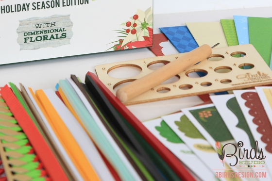 Holiday Season Quilled Cardmaking Kit 3 Birds Design