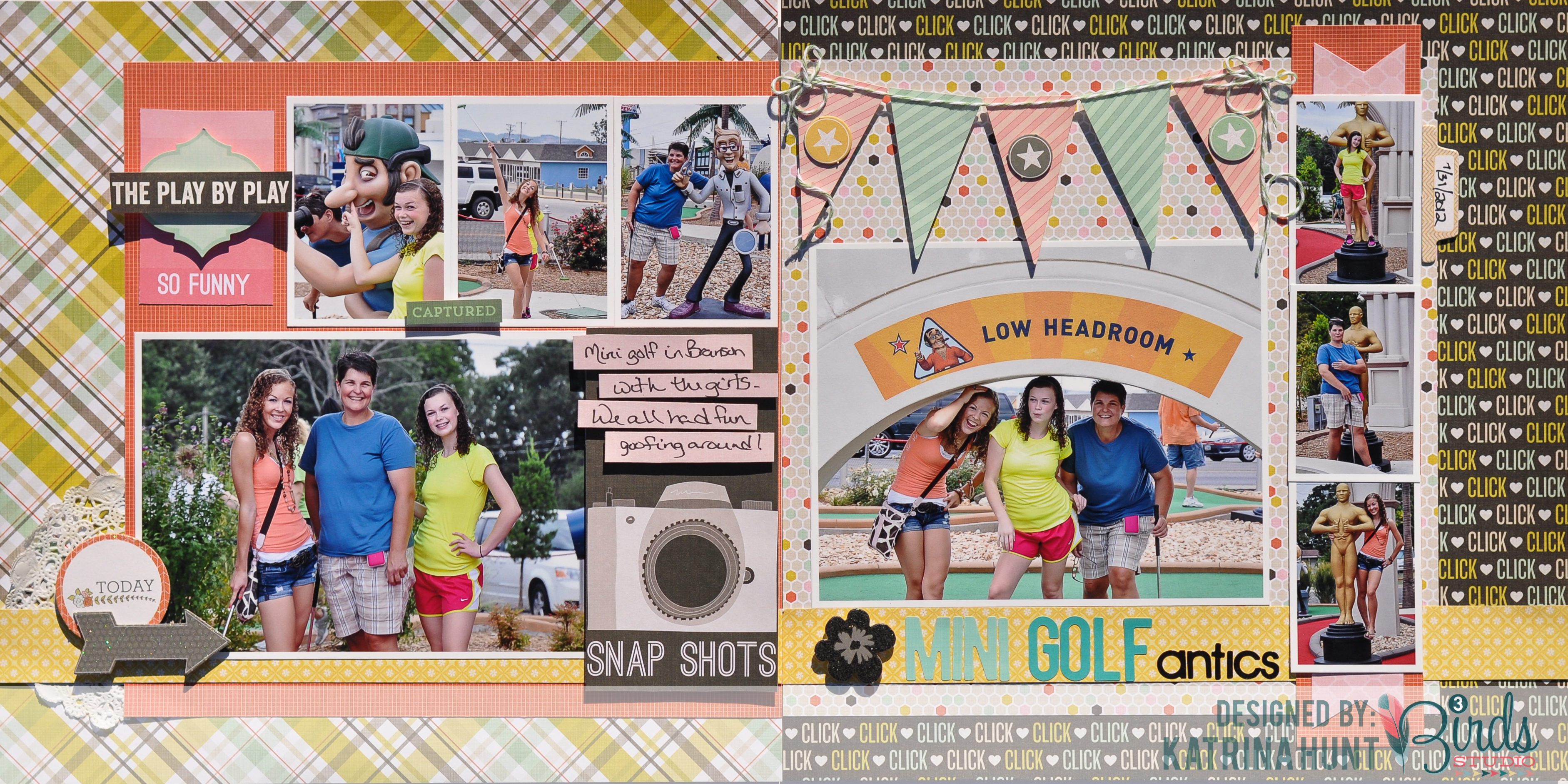 How to design scrapbook layouts - Mini Golf Scrapbook Page By Katrina Hunt For 3 Birds Design Using The September Sketch