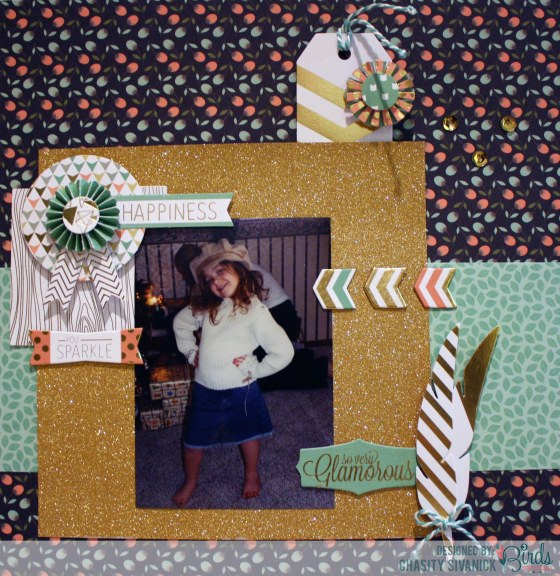 So Glamorous by Chasity Sivanick for #3birdsdesign #touchofglimmerkit #florafestivalkit #scrapbookpage