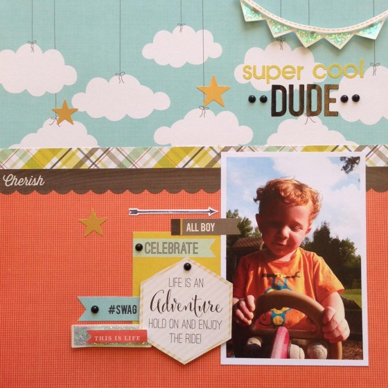 Super Cool Dude By Chasity Sivanick for #3birdsdesign #middaymedley #scrapbookpage