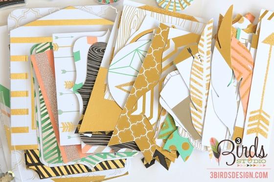 Touch of Glimmer Embellishment Kit 3 Birds Design