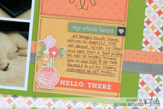 Welcome Home Scrapbook Page by Juliana Michaels for 3 Birds Design September Sketch Challenge