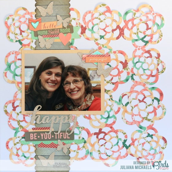 Happy Scrapbook Page by Juliana Michaels for 3 Birds Design 17turtles Creative Team Up