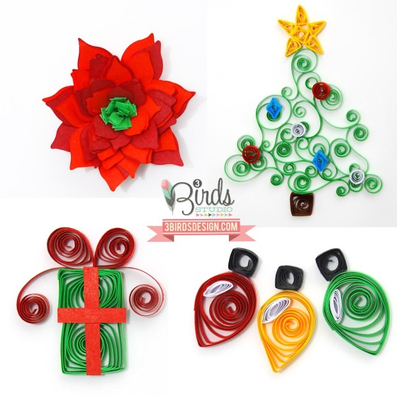 Holiday Quilled Card Kit by #3birdsdesign