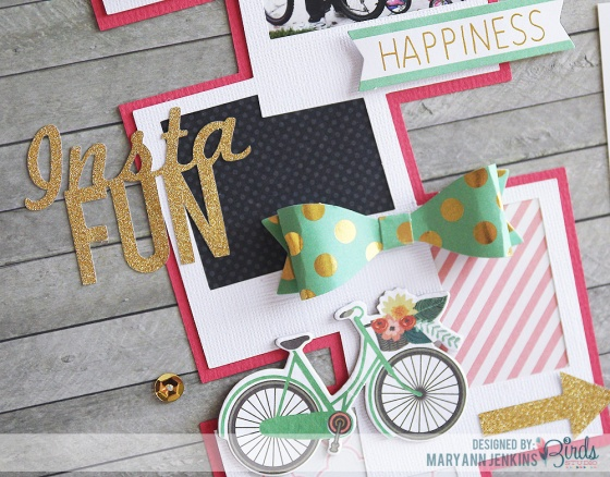 Insta Fun Scrapbook Page by Mary Ann Jenkins for 3 Birds Design featuring 17turtles Digital Cut Files