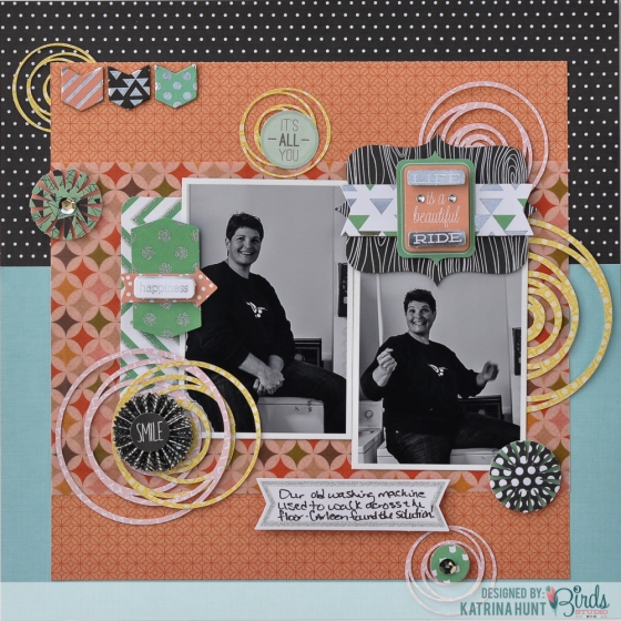 Life is a Beautiful Ride Scrapbook Page by Katrina Hunt for 3 Birds Design featuring 17turtles Digital Cut Files