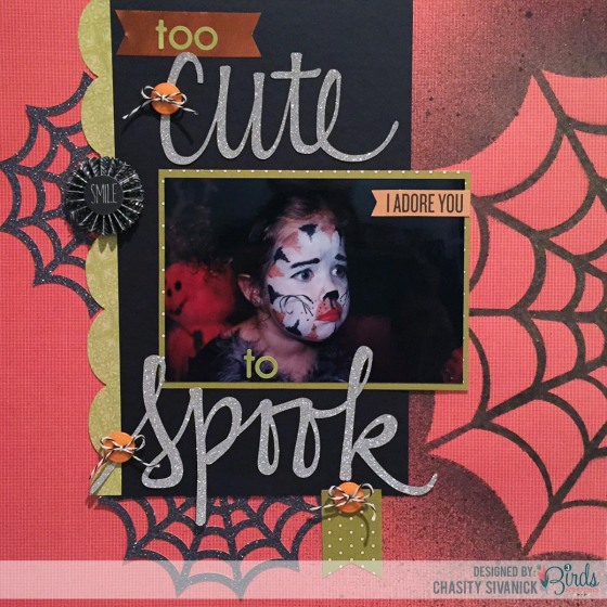 Too Cute to Spook Scrapbook Page by Chasity Sivanick for #3birdsdesign #17turtles #teamup #scrapbookpage