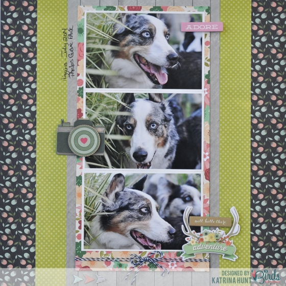 Well Hello Adventure Scrapbook Page by Katrina Hunt for 3 Birds Design