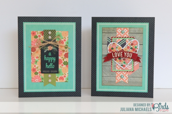 2 Different Cards Using the Same Base by Juliana Michaels for 3 Birds Design