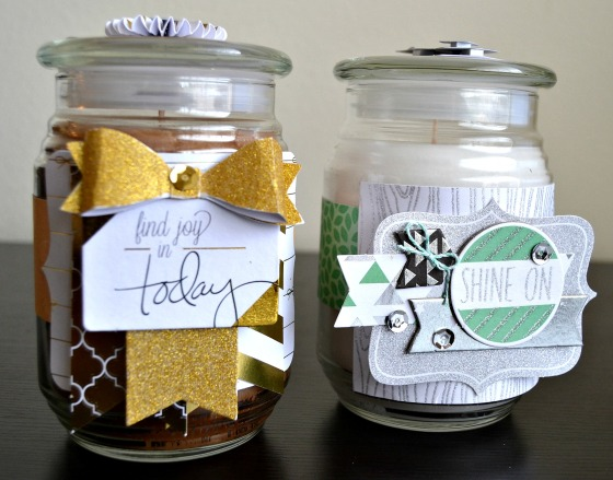 Decorated Jar Candles by Raechelle Bellus Guest Designer for 3 Birds Design using Touch of Glimmer Kit