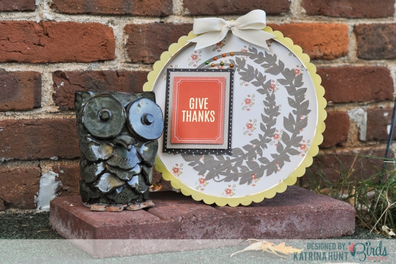 Give Thanks Embroidery Hoop Fall Home Decor by Katrina Hunt for 3 Birds Design