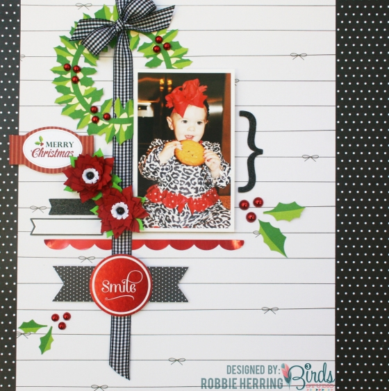 Merry Christmas Layout by Robbie Herring for #3birdsdesign #layout #christmastime
