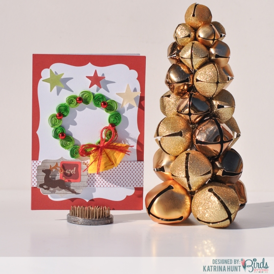 Quilled Bells Christmas Card by Katrina Hunt for 3 Birds Design