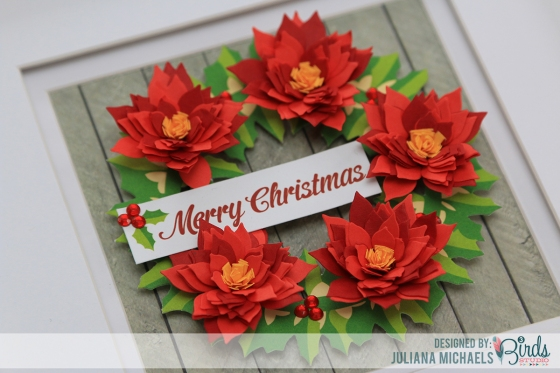 Quilled Poinsettia Merry Christmas Home Decor Frame by Juliana Michaels for 3 Birds Design
