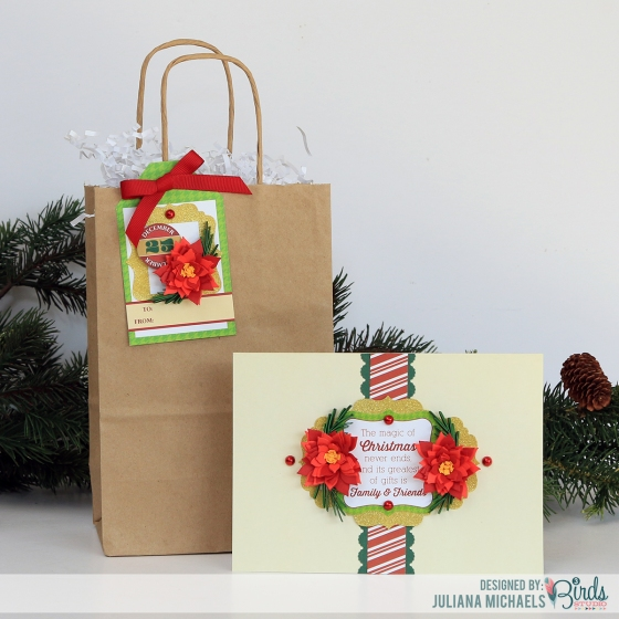 Christmas Card, Tag and Gift Bag by Juliana Michaels for 3 Birds Design using the Holiday Season Quilled Cardmaking Kit