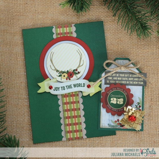Christmas Card and Tag by Juliana Michaels for 3 Birds Design featuring the Holiday Quilled Cardmaking Kit