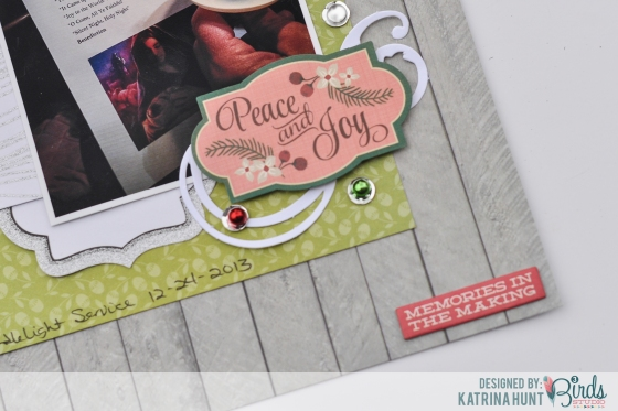 Peace and Joy Scrapbook Page by Katrina Hunt for 3 Birds Design